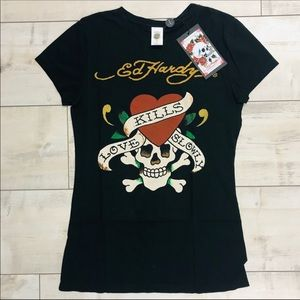 NWT Ed Hardy women's short sleeve shirt large